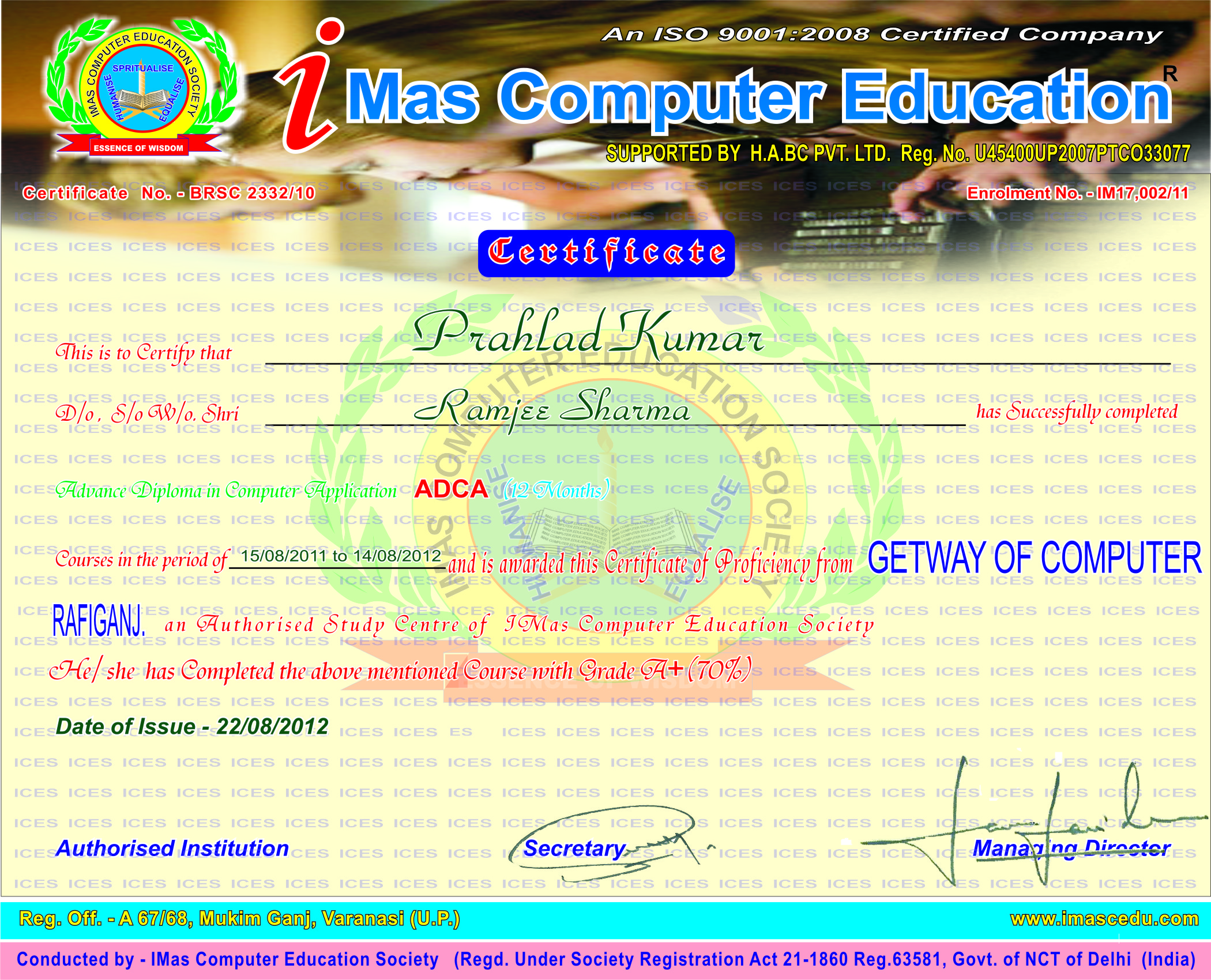 Certificate and icard sample imas certificate sample icard sample yelopaper Images